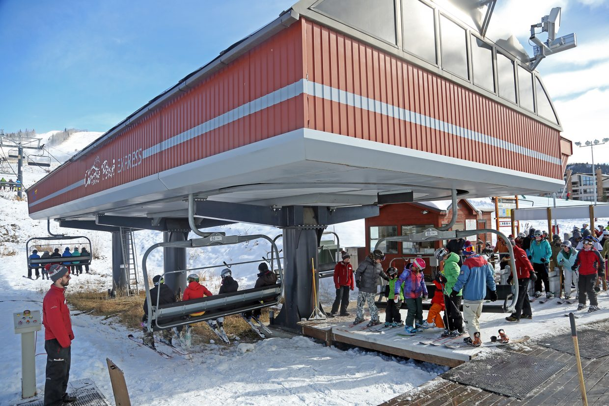 Christie Peak Express was the only chairlift operating on Saturday in the Steamboat Ski Area's early opening.