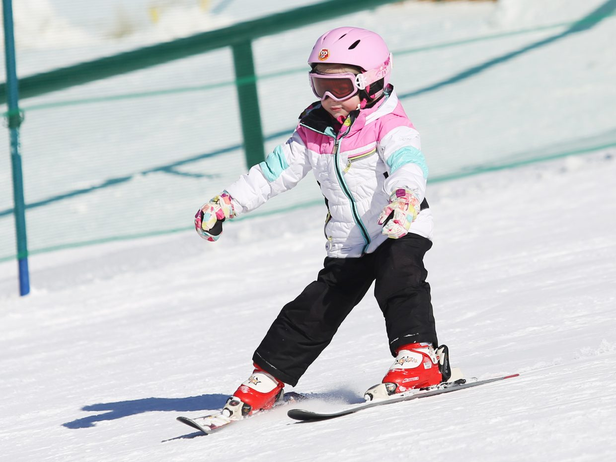 Steamboat Springs resident Taylor Jenkins, 4, skis down a run at the Steamboat Ski Area on Saturday.