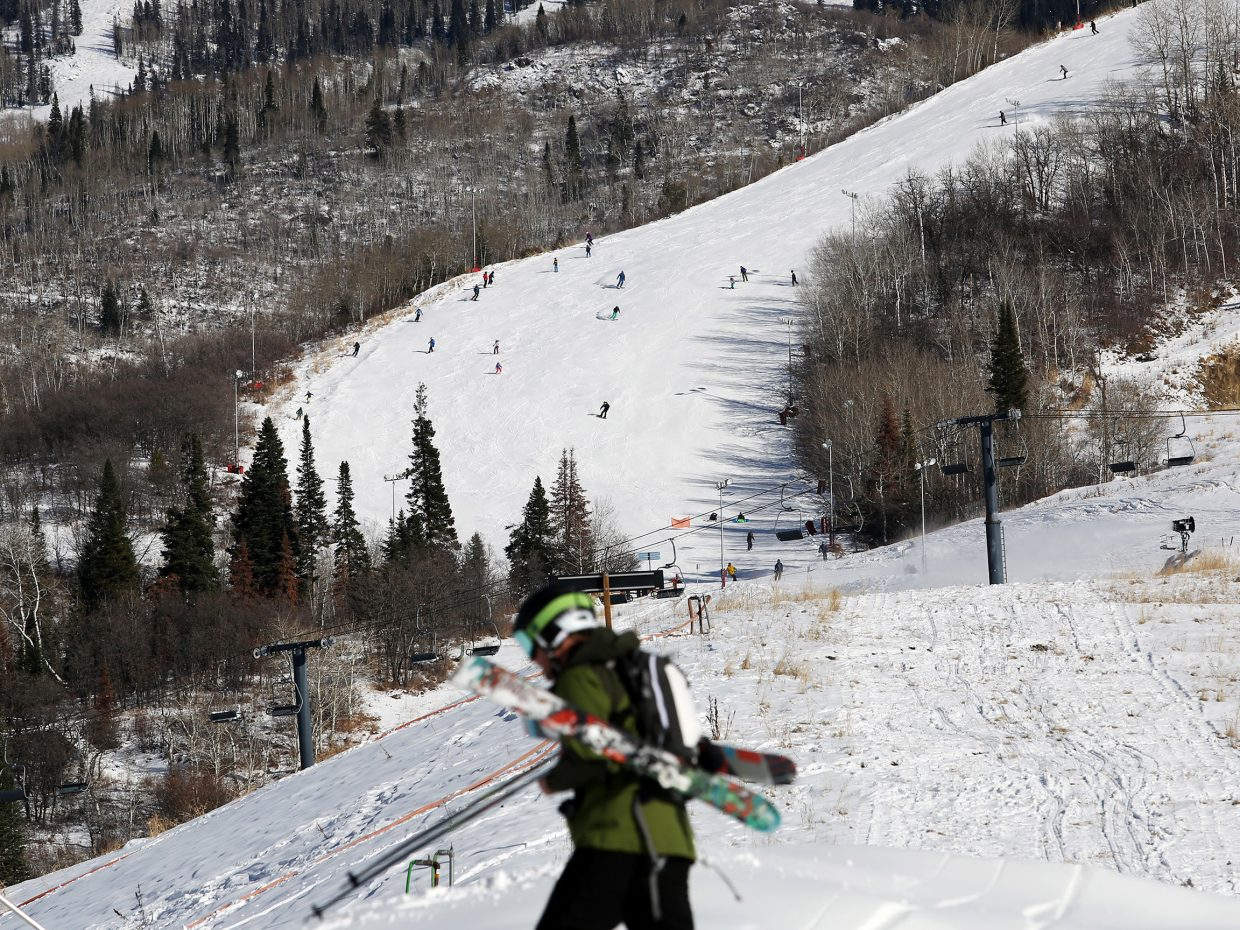 Some skiers and snowboarders elected to tackle the upper slopes of Christie Peak Express on Saturday. Only the lower portion near the chairlift was available for beginners.