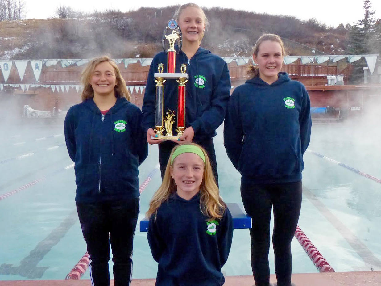 From back left, Lily Starkey, Jenna Smith, Annika Fahrner and Rylee McLouth (front) traveled to Thornton over the weekend to compete in the CUDA Pentathlon as part of the Steamboat Springs swim team.