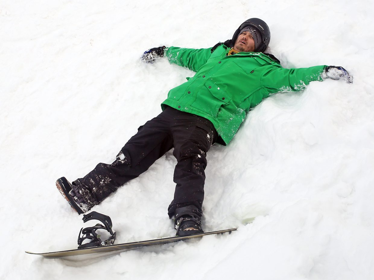 Steamboat Today reporter and photographer Austin Colbert is new to snowboarding. And Friday during his first time on the mountain, the majority of it was spent laying deflated in the snow.