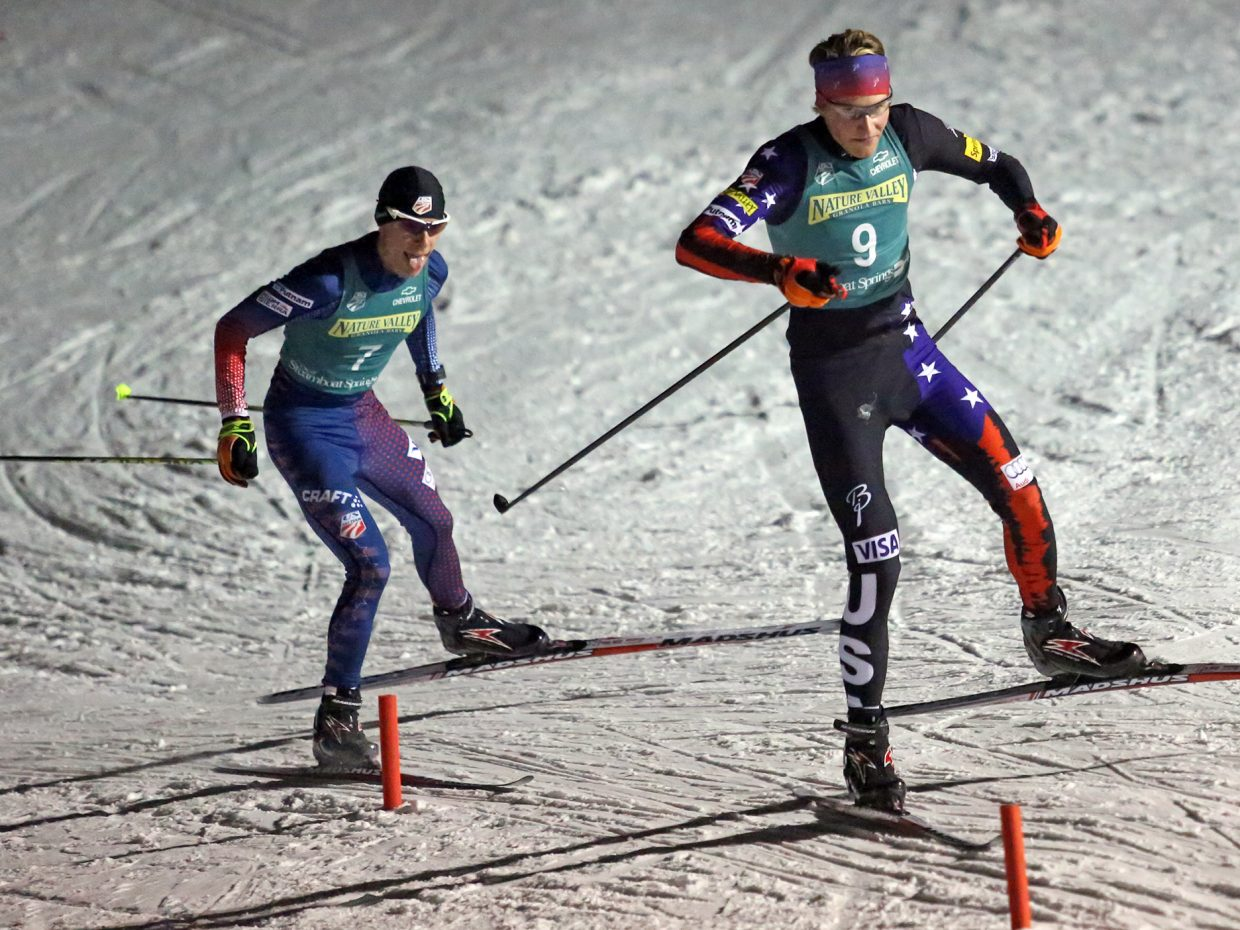 Ben Loomis leads Ben Berend in the early goings of the men's senior division of Saturday's Nordic combined race at Howelsen Hill.
