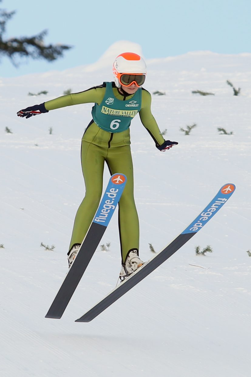 Samantha Macuga competes in the special ski jumping competition of Saturday's Winter Start event at Howelsen.