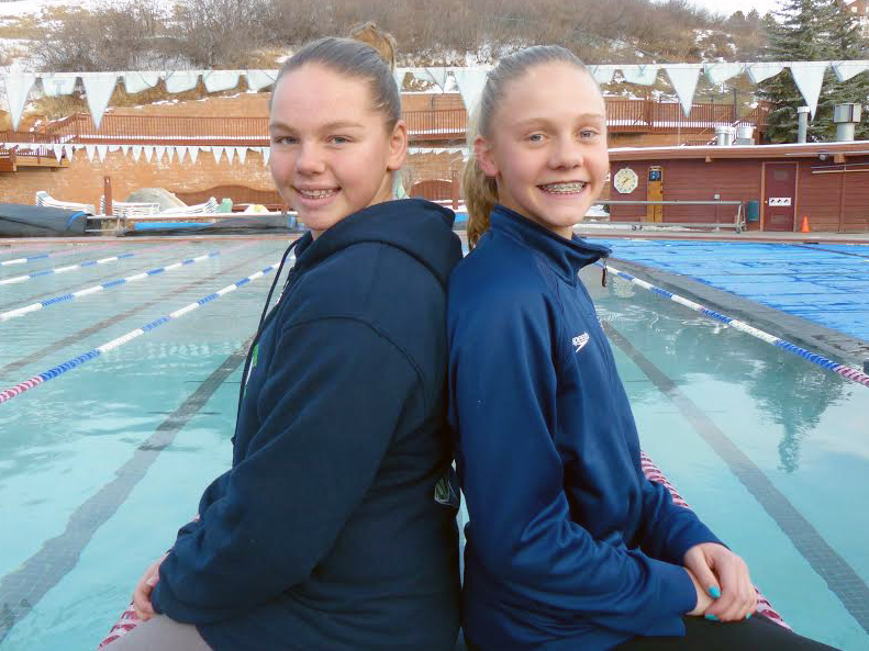 Steamboat Springs swimmers Saige Lottes, left, and Jenna Smith competed at the CSI Pioneer Open at Denver University last weekend. Smith's times at the meet have qualified her for sectional cuts in five events, which take place in March.