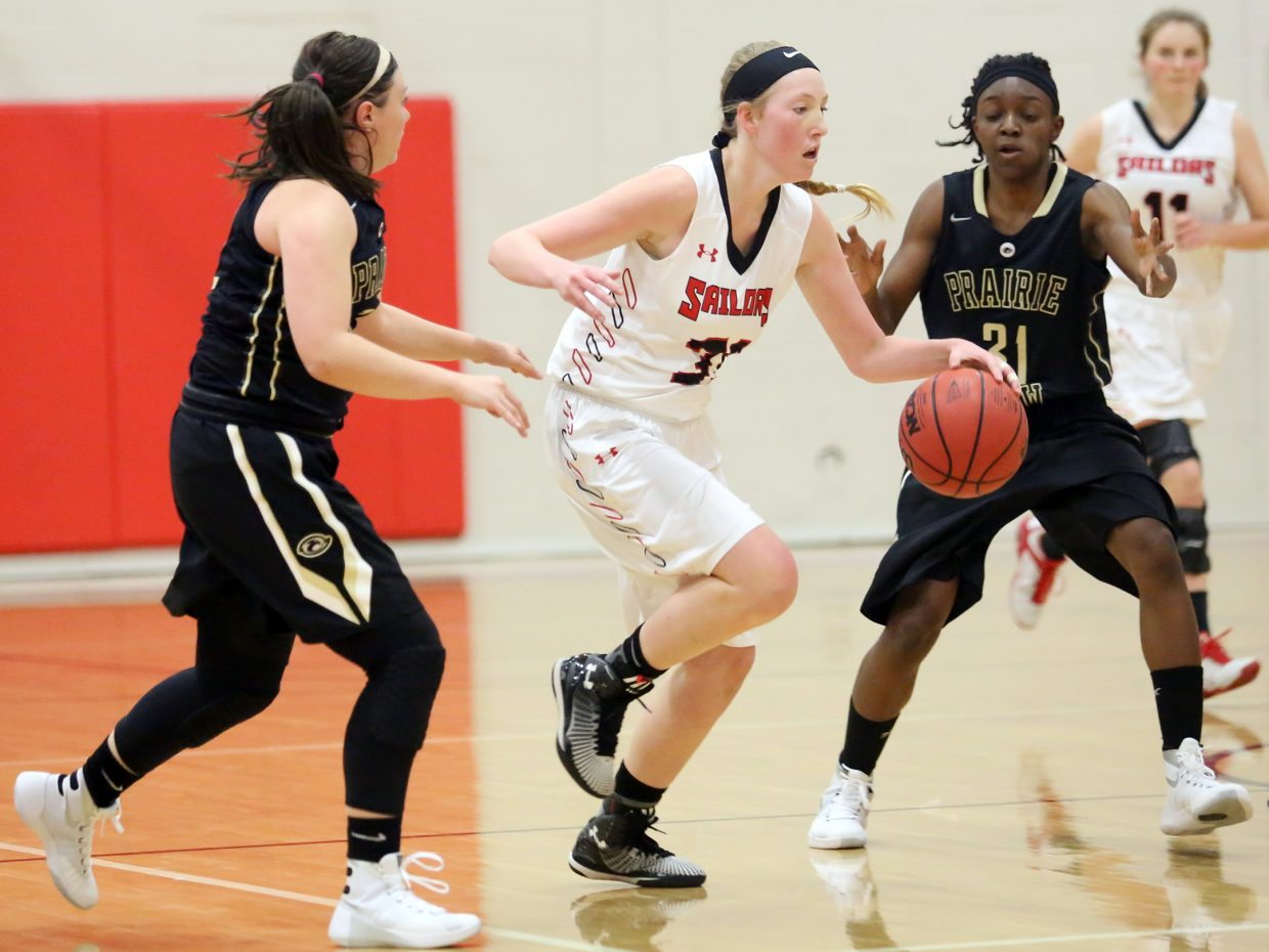 Steamboat Springs junior Ellie Crouch dribbles the ball up court against Prairie View on Saturday in their final game of the Steamboat Shootout. The Sailors lost, 48-31.