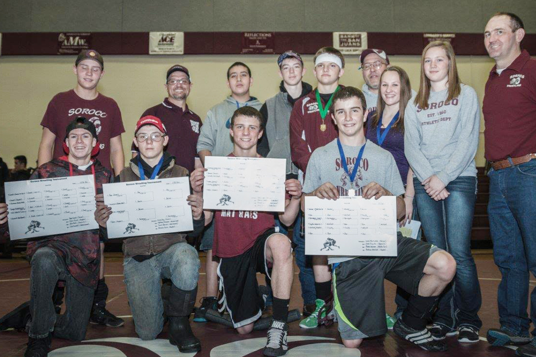 The Soroco High School wrestling team poses for a photo after Saturday's home invitational in Oak Creek.