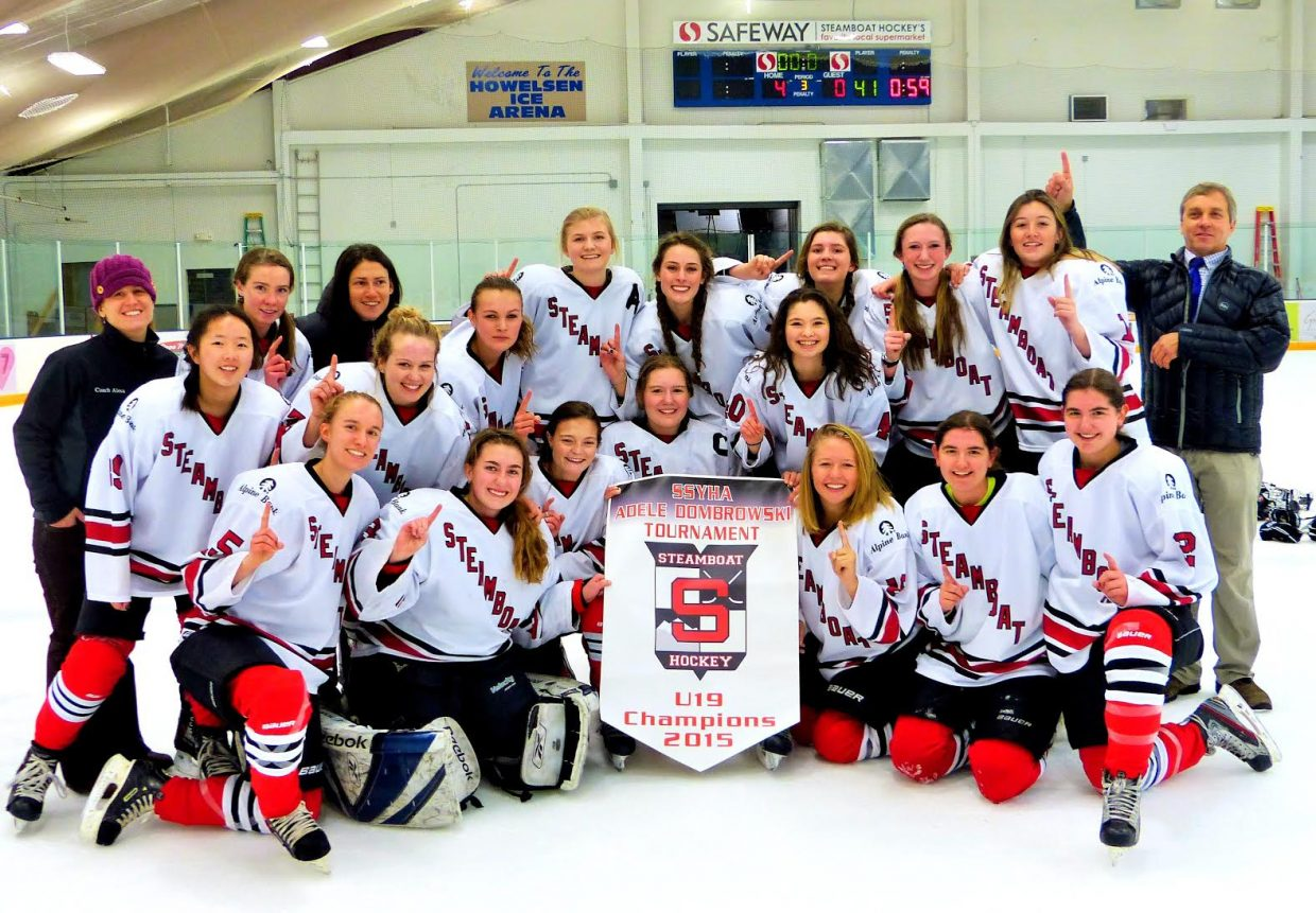 The Steamboat Springs U19 girls' hockey team poses for a picture following its 4-0 win over Colorado Select on Sunday in the championship game of the Adele Dombrowski Tournament.