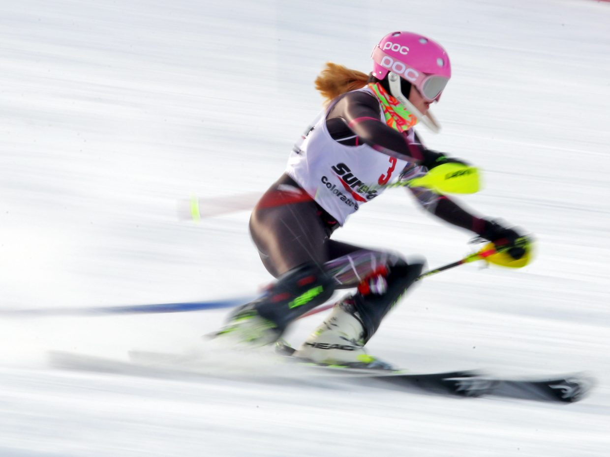 Vail's Rachael DesRochers competes in the women's portion of Sunday's National Junior Race slalom ski event at Howelsen Hill.