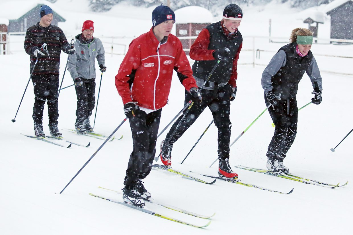 Members of the Steamboat Springs High School Nordic skiing team practice last week near the rodeo grounds. The Sailors open their season Jan. 9 in Frisco.