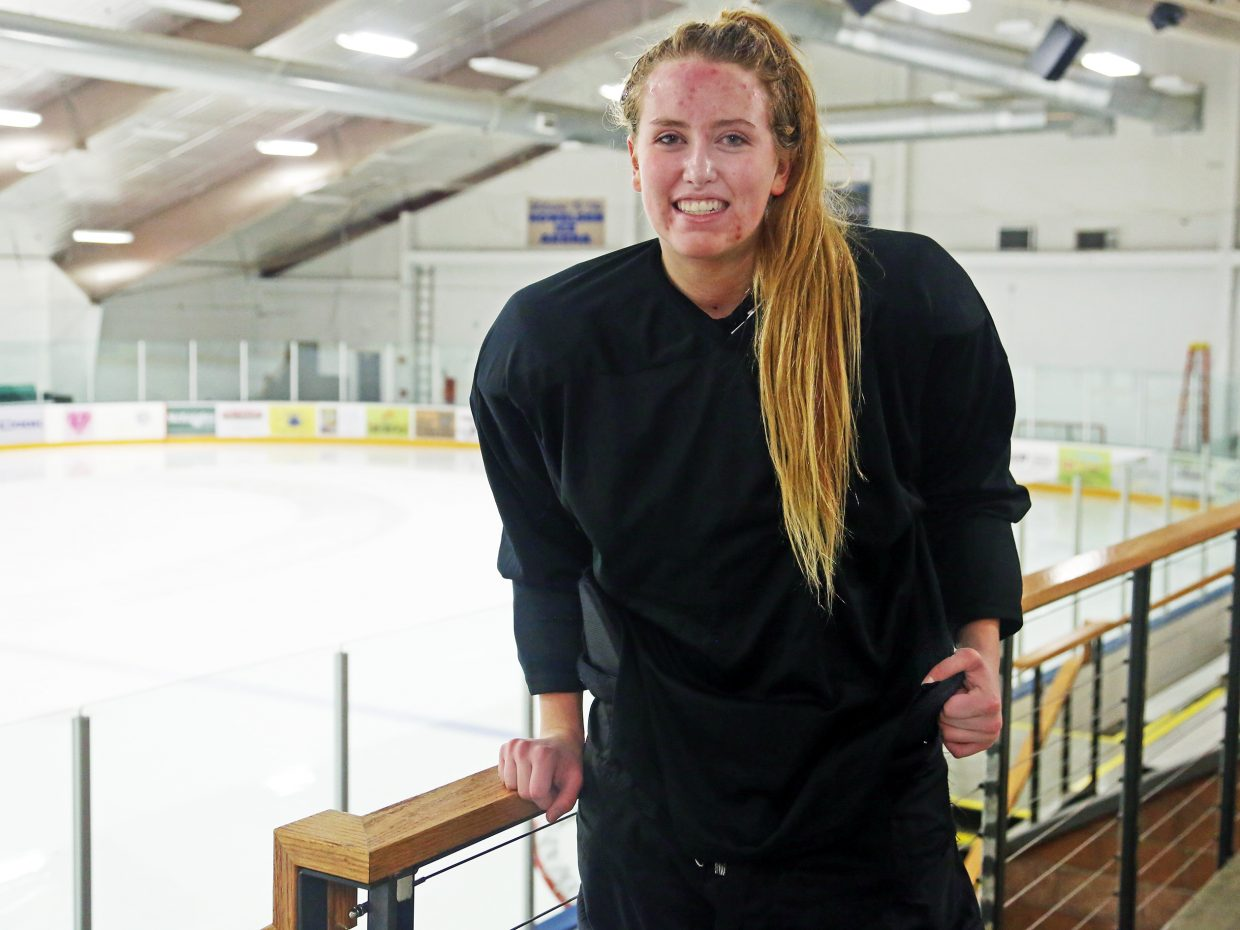 Steamboat Springs High School senior Becky Brown is the only girl on the Sailors' varsity hockey team this season. Brown wants to play Division I hockey after taking a post grad year.
