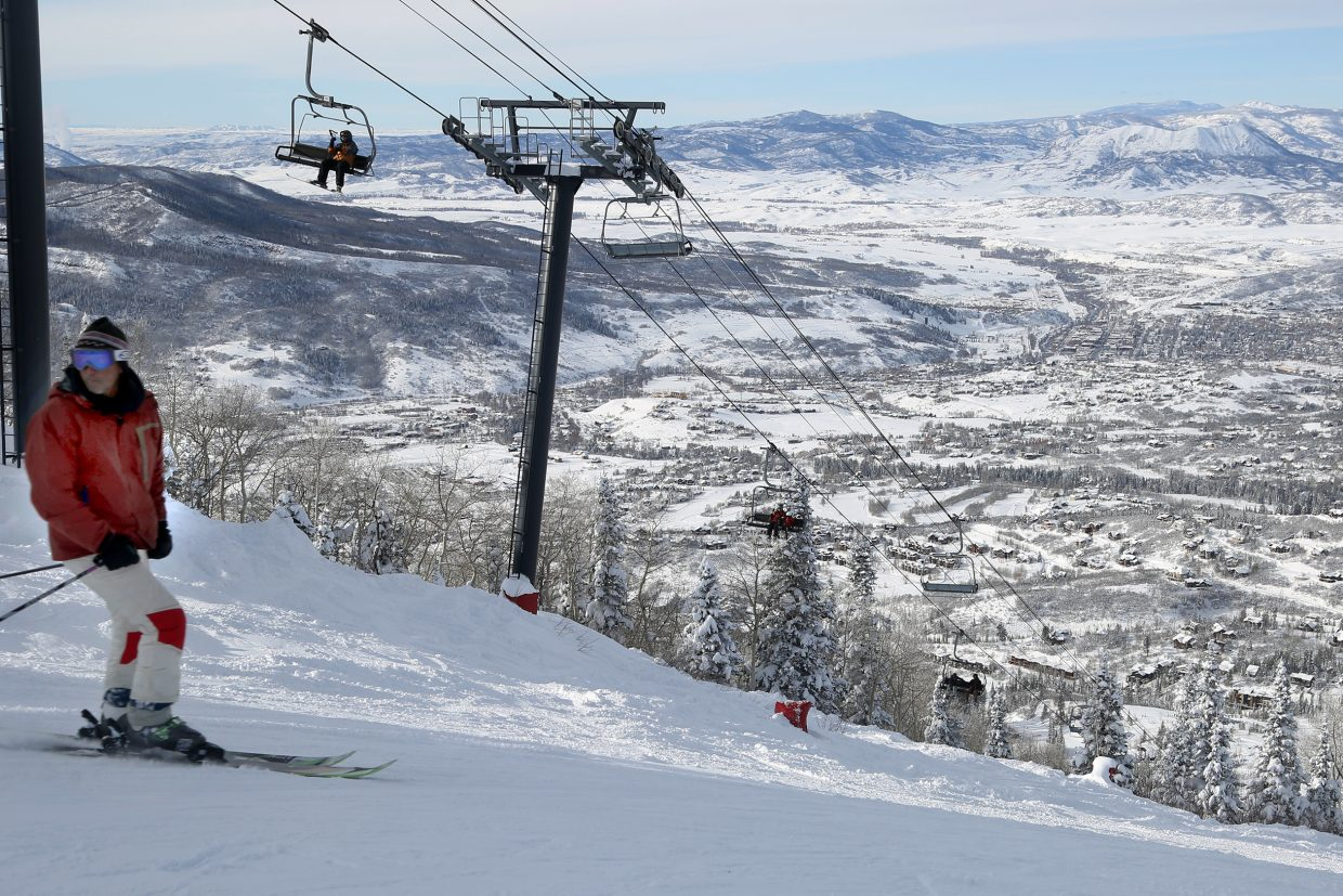 A skier prepares to take the plunge down a run near Thunderhead on Thursday at the Steamboat Ski Area.