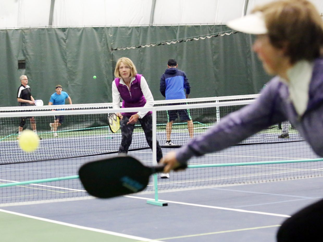 Players take part in an afternoon pickleball session on Wednesday inside The Tennis Center at Steamboat Springs. Permanent, outdoor pickleball courts could become a reality this spring at the center.