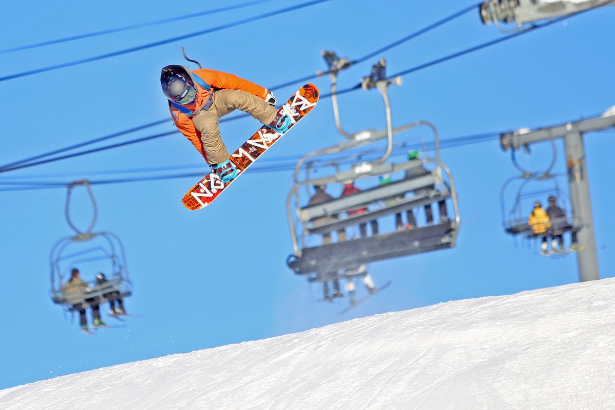 Michigan's Cole Busby gets air off a jump at the bottom of Lil' Rodeo on Friday at the Steamboat Ski Area. With little snow to be found in the upper midwest, Busby came to Colorado over the holidays to take advantage of the more than 160 inches Steamboat has received so far this season.