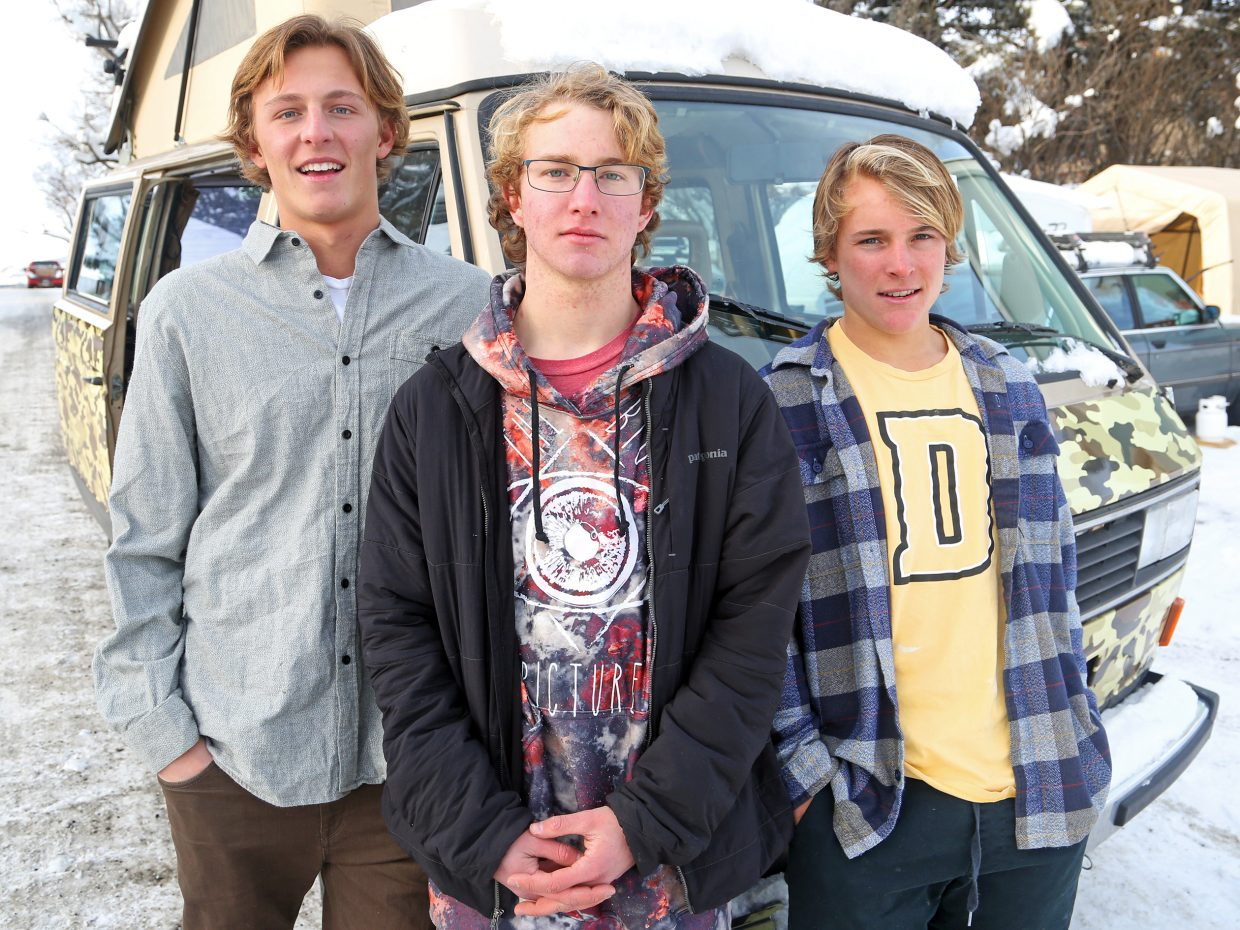 Steamboat Springs High School seniors, from left, Nick Simon, Jack Vanderbeek and Matthew White will graduate a semester early and spend the rest of the winter competing in big mountain ski events across the country and Canada. The trio will live in a 1986 Volkswagen Vanagon, owned by the Vanderbeeks, during their trip.