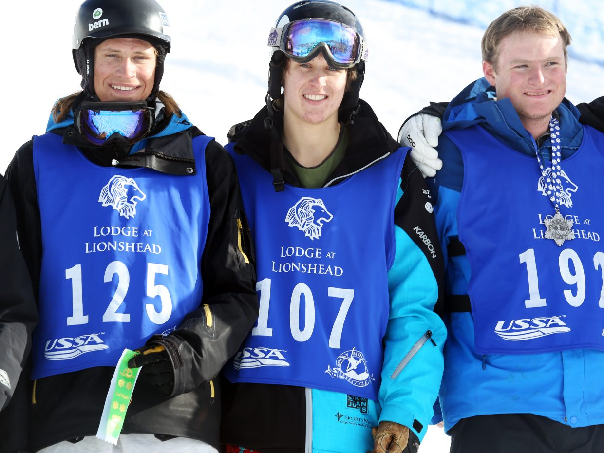 Steamboat Springs skier Zach Rosa, center, finished fourth in the men's portion of Sunday's dual moguls event at Steamboat Ski Area. Rosa stands next to Aspen's Colby Lee, left, and Montana's Andrew Rimelman.