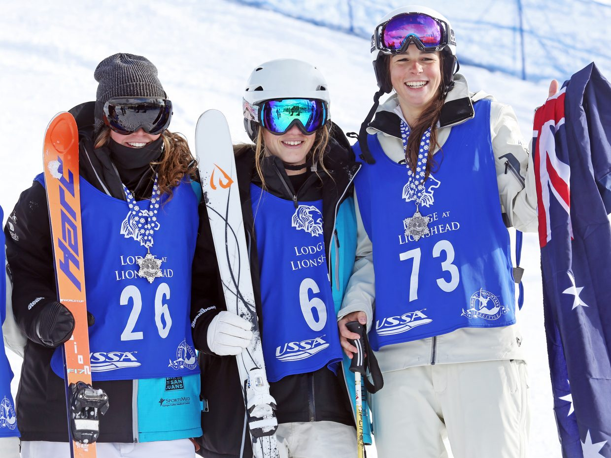 Australia's Jakara Anthony, right, won the women's portion of Sunday's dual moguls event at Steamboat Ski Area. Taking second and third were Steamboat Springs Winter Sports Club athletes Olivia Giaccio (center) and Avital Shimko (left).