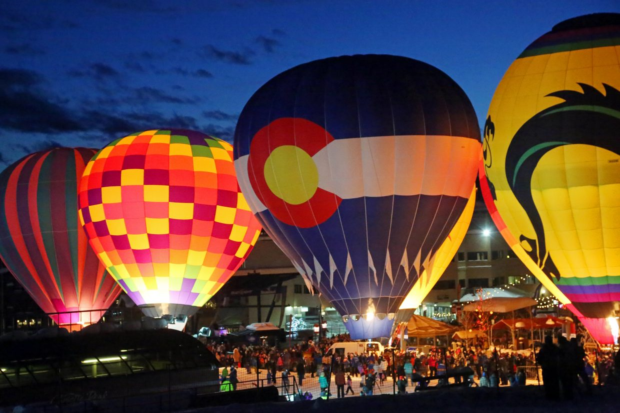 Balloons lit up the night during Sunday's Hot Air Balloon Glow at Steamboat Ski Area.
