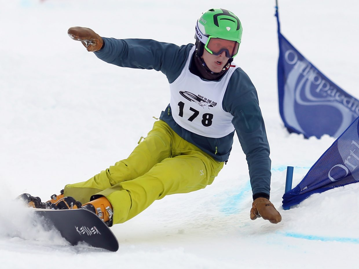 Steamboat Springs Winter Sports Club athlete Robbie Burns competes in Sunday's NorAm Race to the Cup snowboarding event at Howelsen Hill. He was second on Sunday after taking first on Saturday.