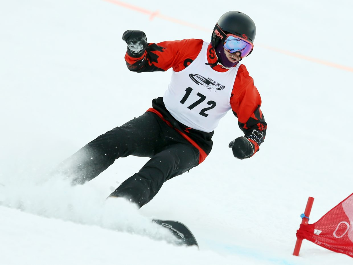 Canada's Sebastien Beaulieu won the men's side of Sunday's NorAm Race to the Cup parallel slalom snowboard race at Howelsen Hill.