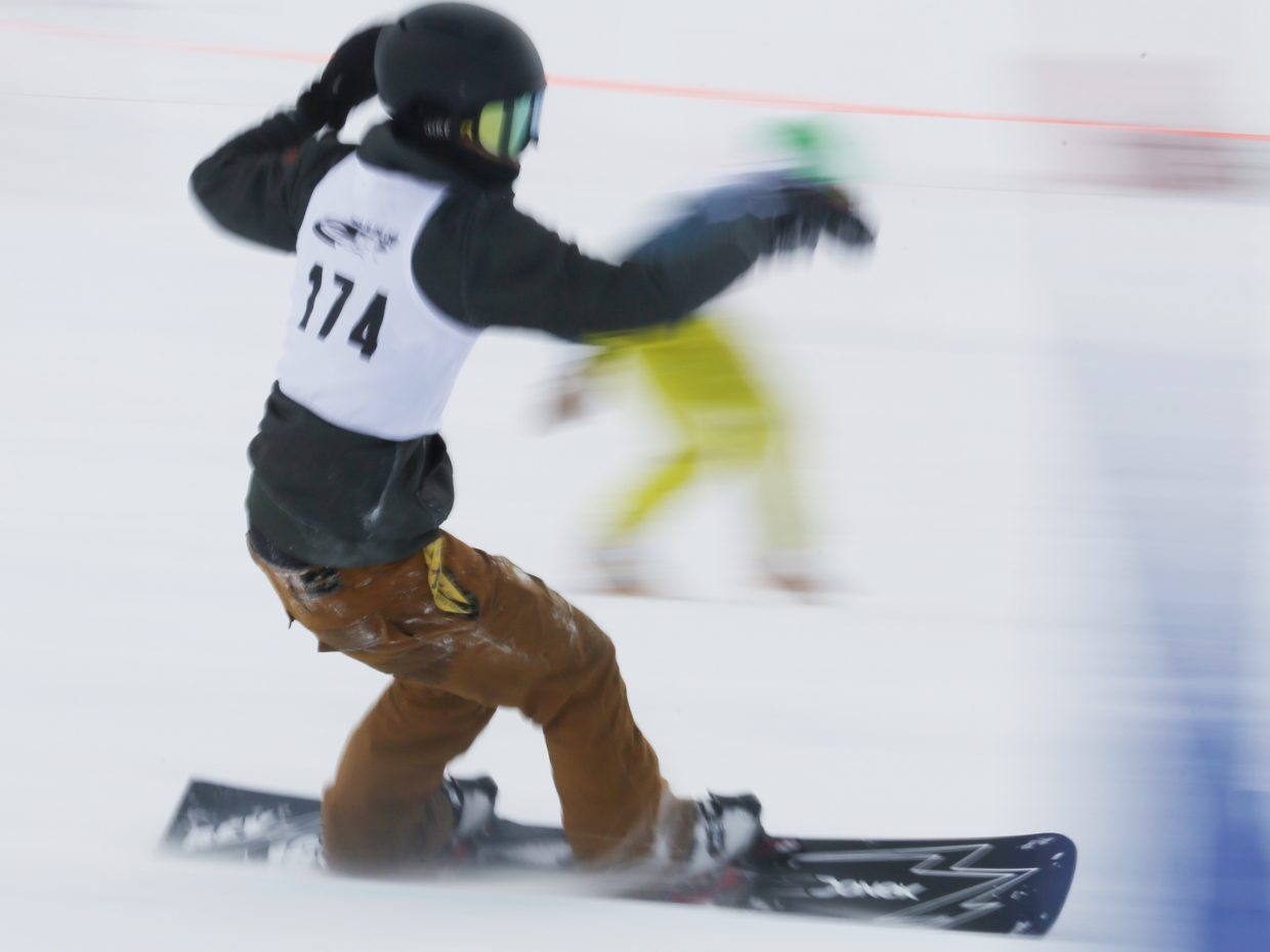 Steamboat Springs Winter Sports Club athlete Billy Winters took third in Sunday's NorAm parallel slalom snowboard event at Howelsen Hill.