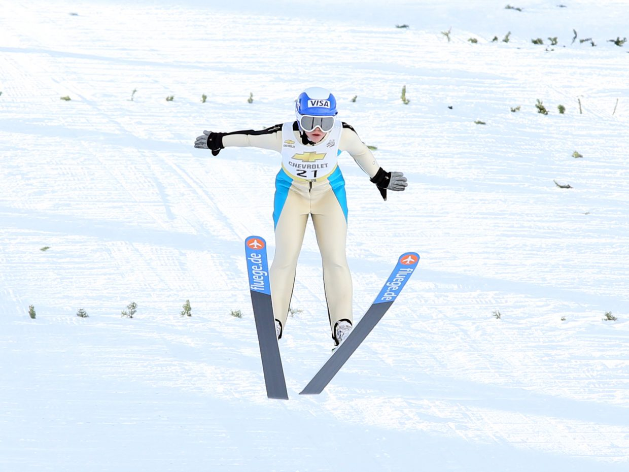 Steamboat Springs Winter Sports Club athlete Logan Sankey competes in Saturday's Rocky Mountain Division ski jumping event at Howelsen Hill.