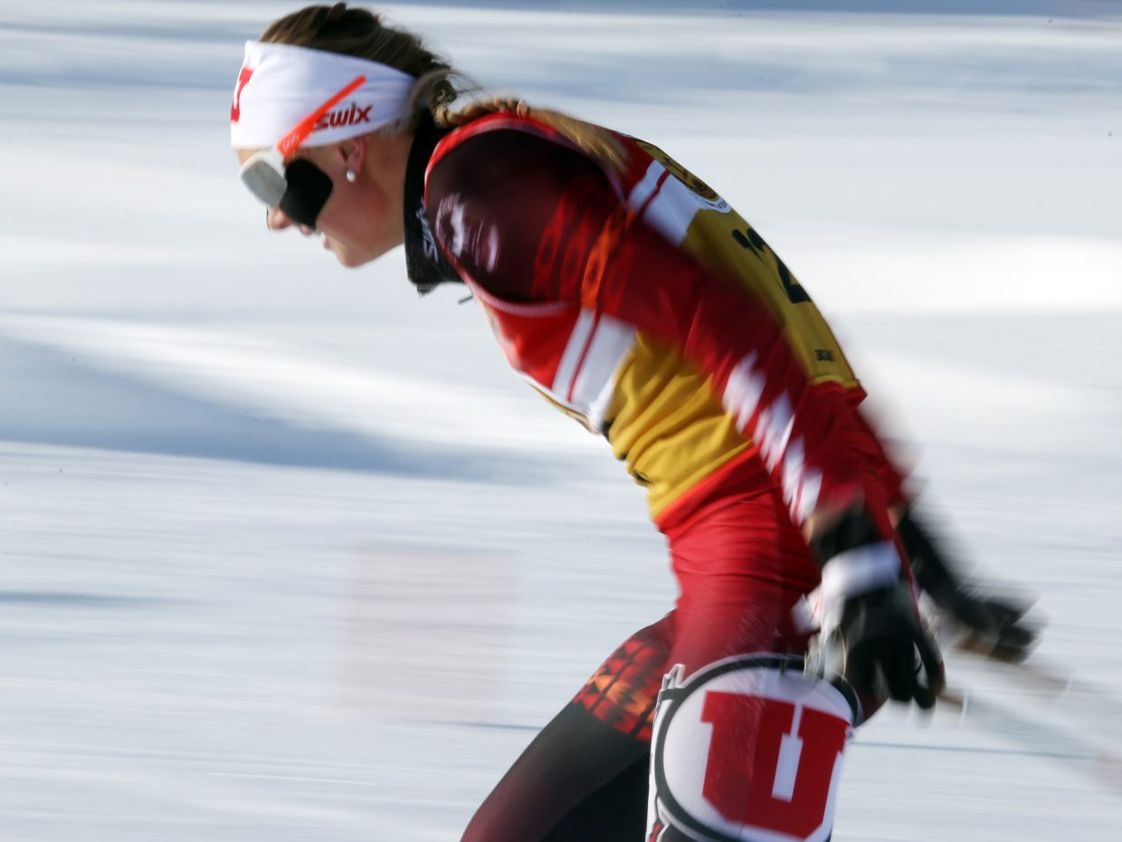 University of Utah's Josefin Nilsson, of Sweden, competes in Saturday's 5K Nordic ski race in Steamboat Springs. She finished 25th in the women's race.