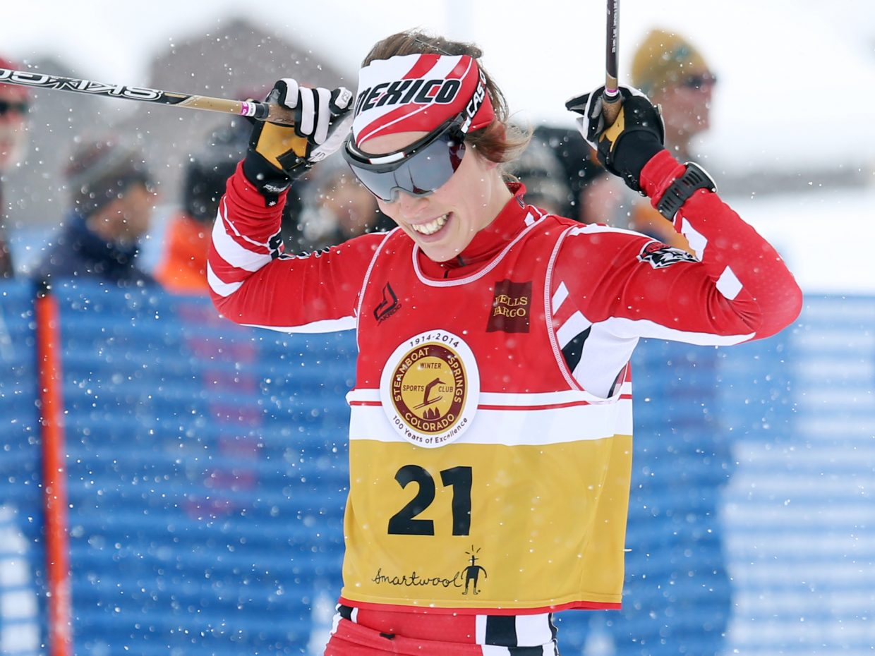 University of New Mexico Nordic skier Emilie Cedervärn, of Sweden, celebrates after winning the women's 15-kilometer mass start classic cross country race on Sunday at the rodeo grounds in Steamboat Springs. The race was the final in the weekend-long Spencer James Nelson Memorial Invitational, hosted by University of Colorado.