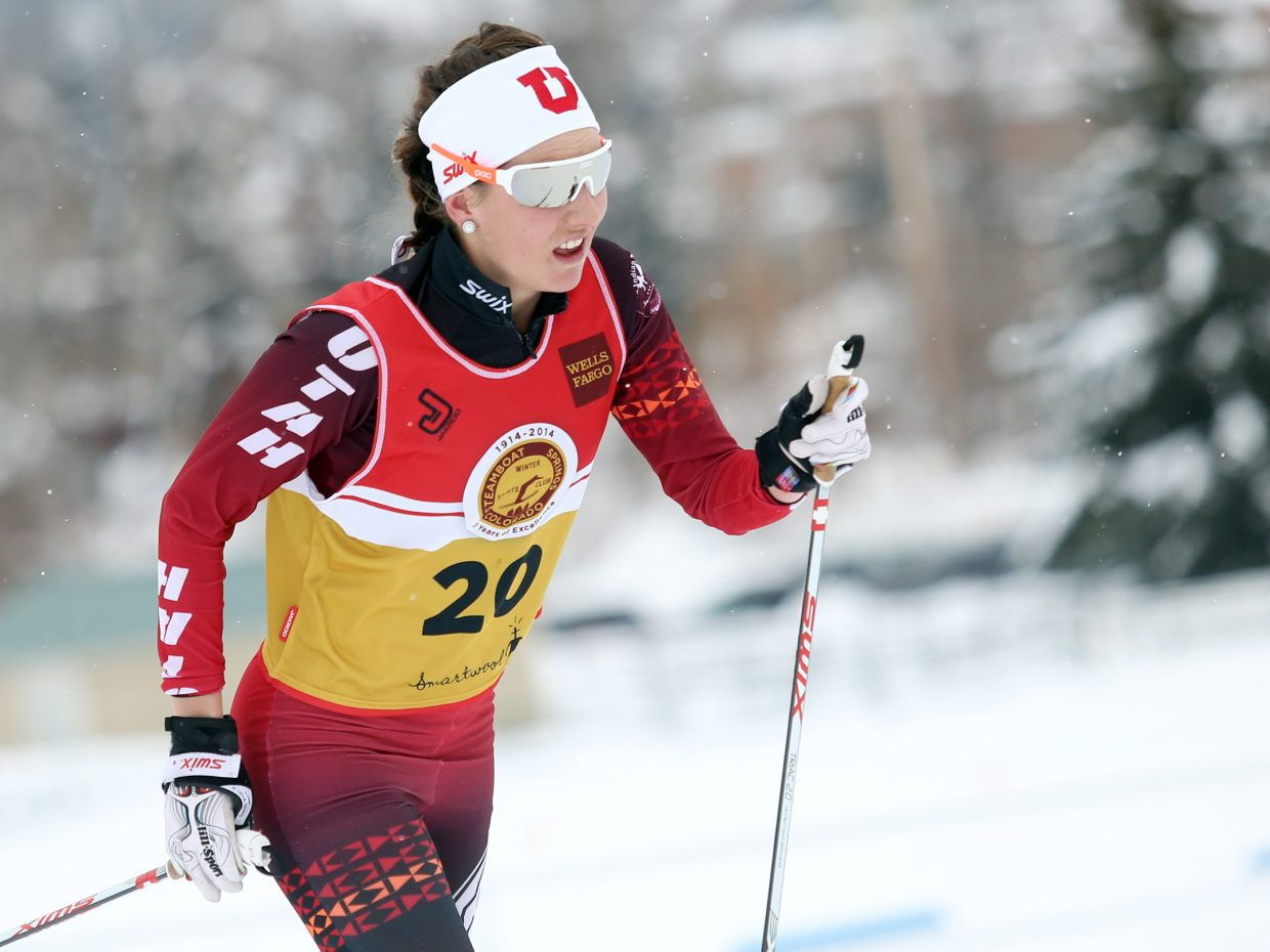 University of Utah Nordic skier Natalia Mueller competes in Sunday's Spencer James Nelson Memorial Invitational 15K race at Howelsen Hill. Mueller finished eighth.
