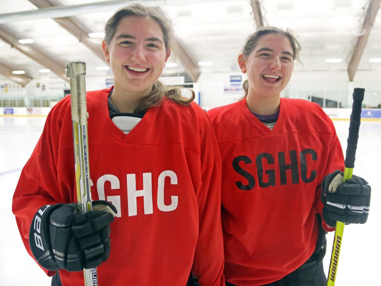 Maddie Thompson, left, and her twin sister, Emmie, have become stars for the Steamboat girls' U19 hockey team this season. They are both among leaders in goals and assists in the Mountain States Girls Hockey League.