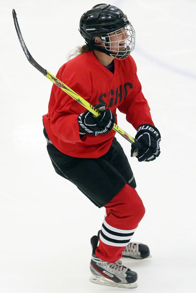 Emmie Thompson takes part in drills earlier this week at the Howelsen Ice Arena with the girls' U19 hockey team. She leads the MSGHL in goals scored this season.