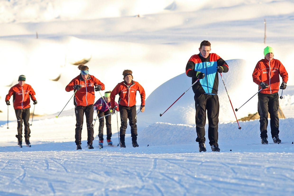 The Steamboat Springs High School Nordic ski team practices Tuesday at the Ski Touring Center. The Sailors host their first meet since 2012 on Saturday.