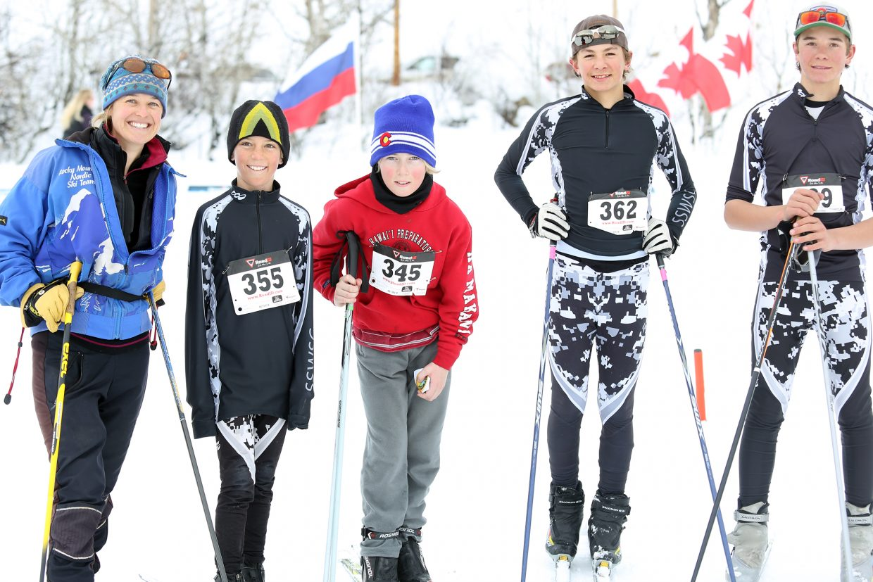 Members of the North Routt Community Charter School's Nordic ski team pose for a photo after Saturday's race at the Steamboat Ski Touring Center. From left are coach Jess Lepage, Weston Boese, Jake Kramer, Jameson Tracy and Jack Tracy.
