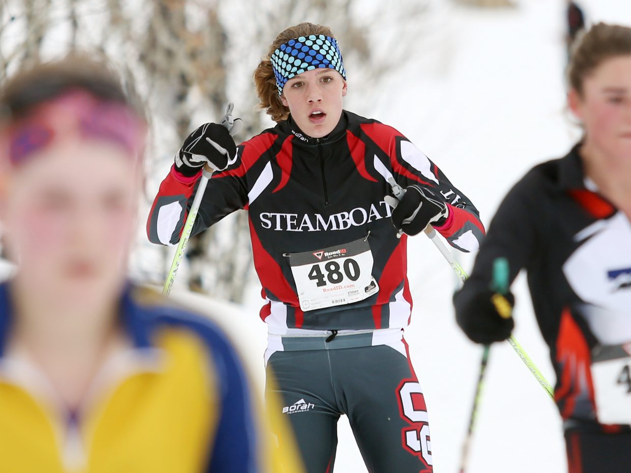 Steamboat Springs High School Nordic skier Natalie Bohlmann competes in Saturday's ski race at the Ski Touring Center. Bohlmann took third in the girls' 5K classic race.