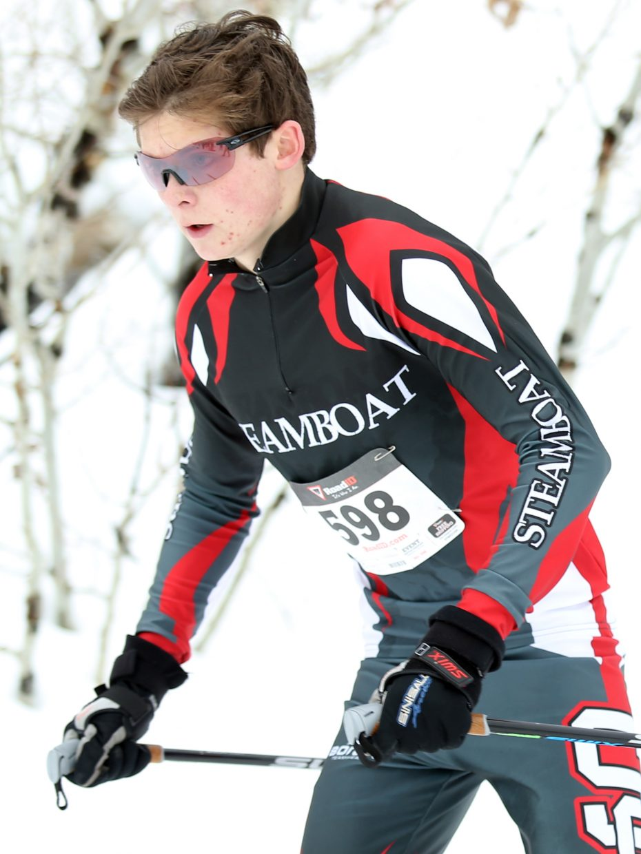 Sailor senior Peter Myller competes in Saturday's Nordic ski race at the Ski Touring Center in Steamboat. Myller took seventh in the boys' 5K classic race.