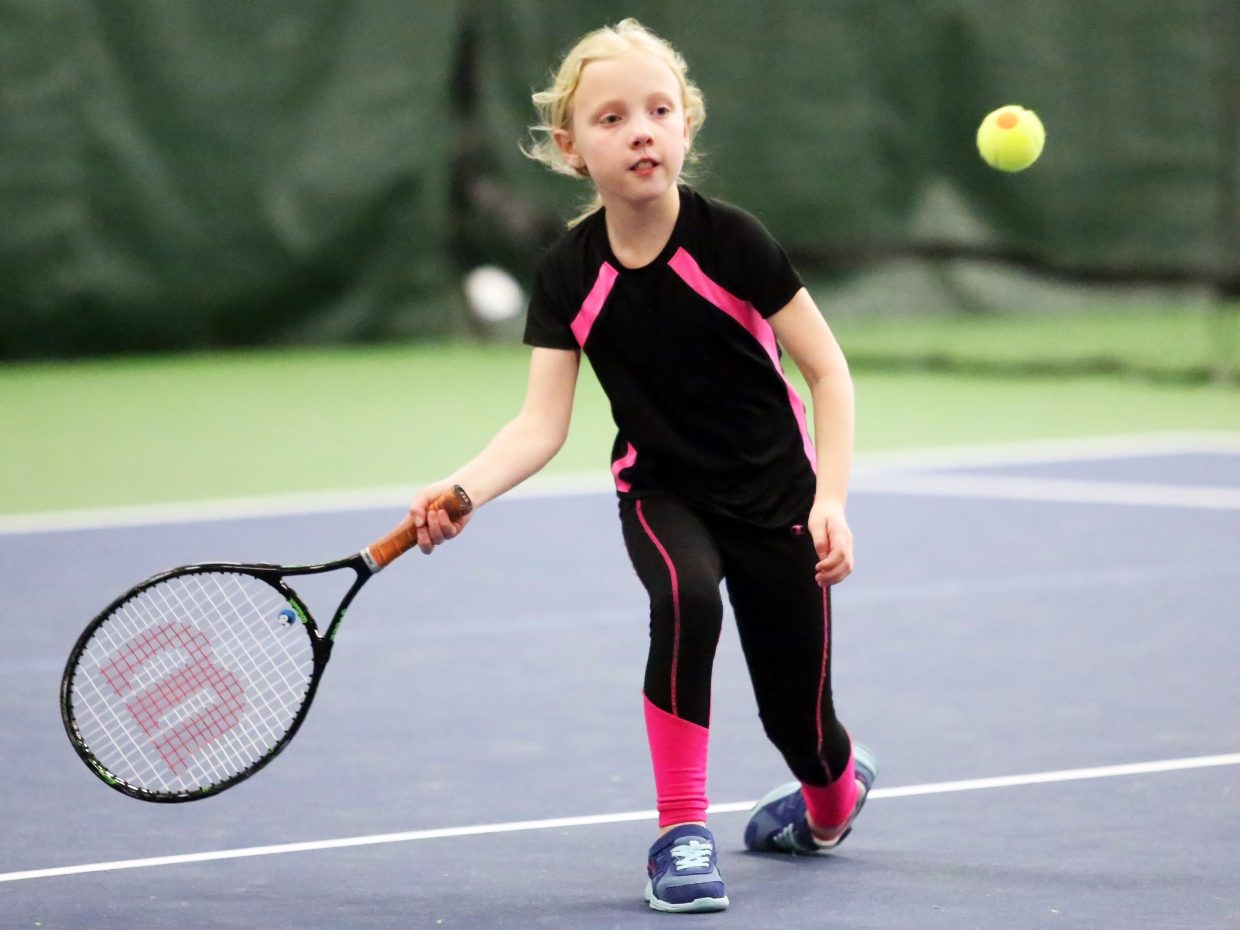 Steamboat Springs resident Charlotte Tegtmeyer, 8, competes in Sunday's City Adult Mixed Doubles and Junior Championships at The Tennis Center.