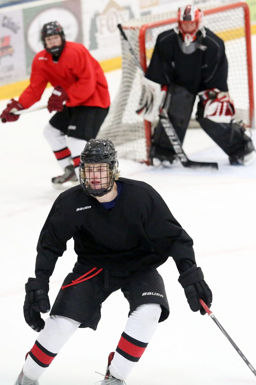 Steamboat Springs High School hockey players scrimmage on Wednesday at the Howelsen Ice Arena.