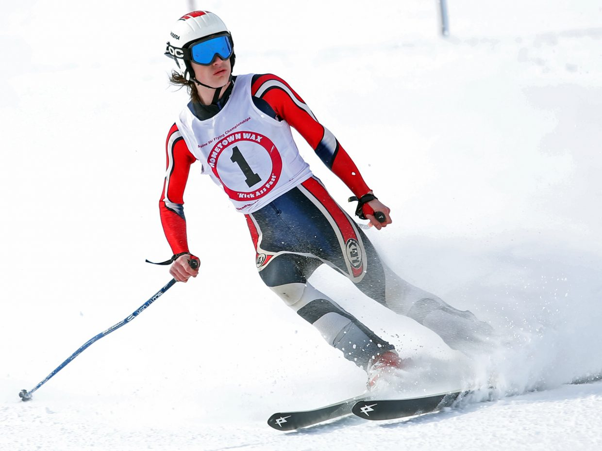 Salt Lake City's Josh Hanson comes to a stop after nailing a big jump on Sunday during the annual Alpine ski jumping competition at Howelsen Hill. Hanson won the event for the second consecutive year.