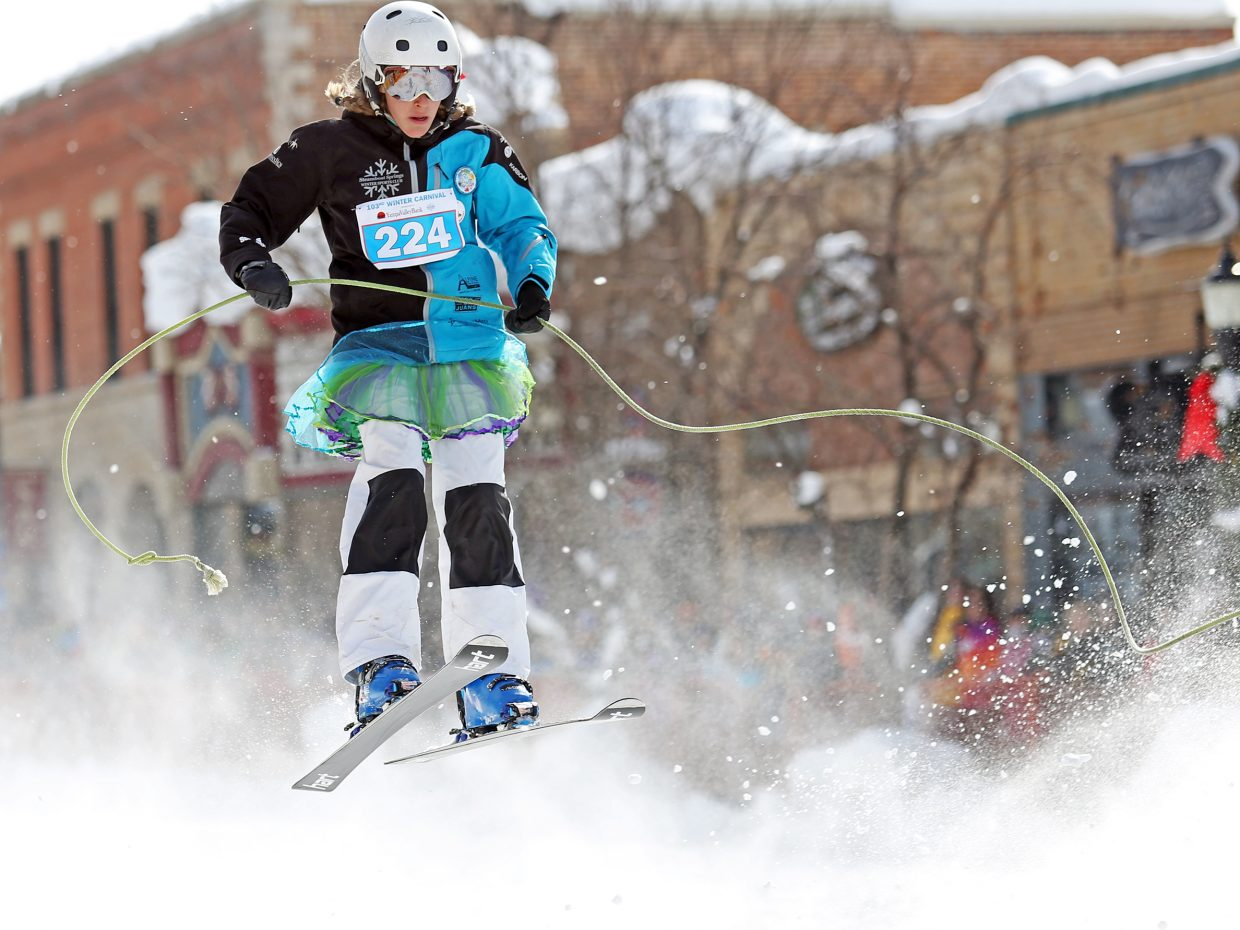 Winter Sports Club athlete Kenzie Radway competes in the Donkey Jump competition on Sunday during the Winter Carnival.