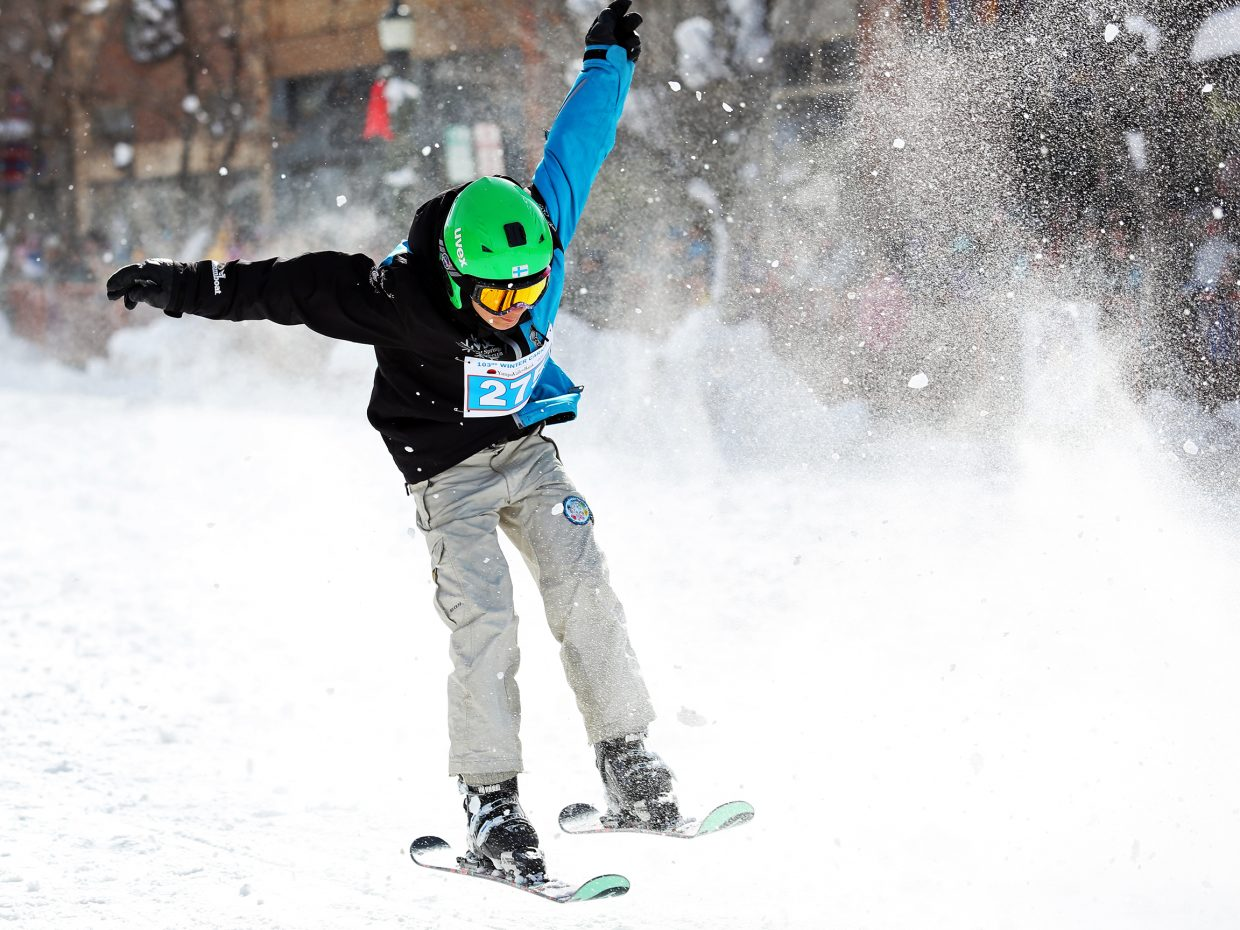 Winter Sports Club athlete Niklas Malacinski competes in the Donkey Jump on Sunday during the Winter Carnival.