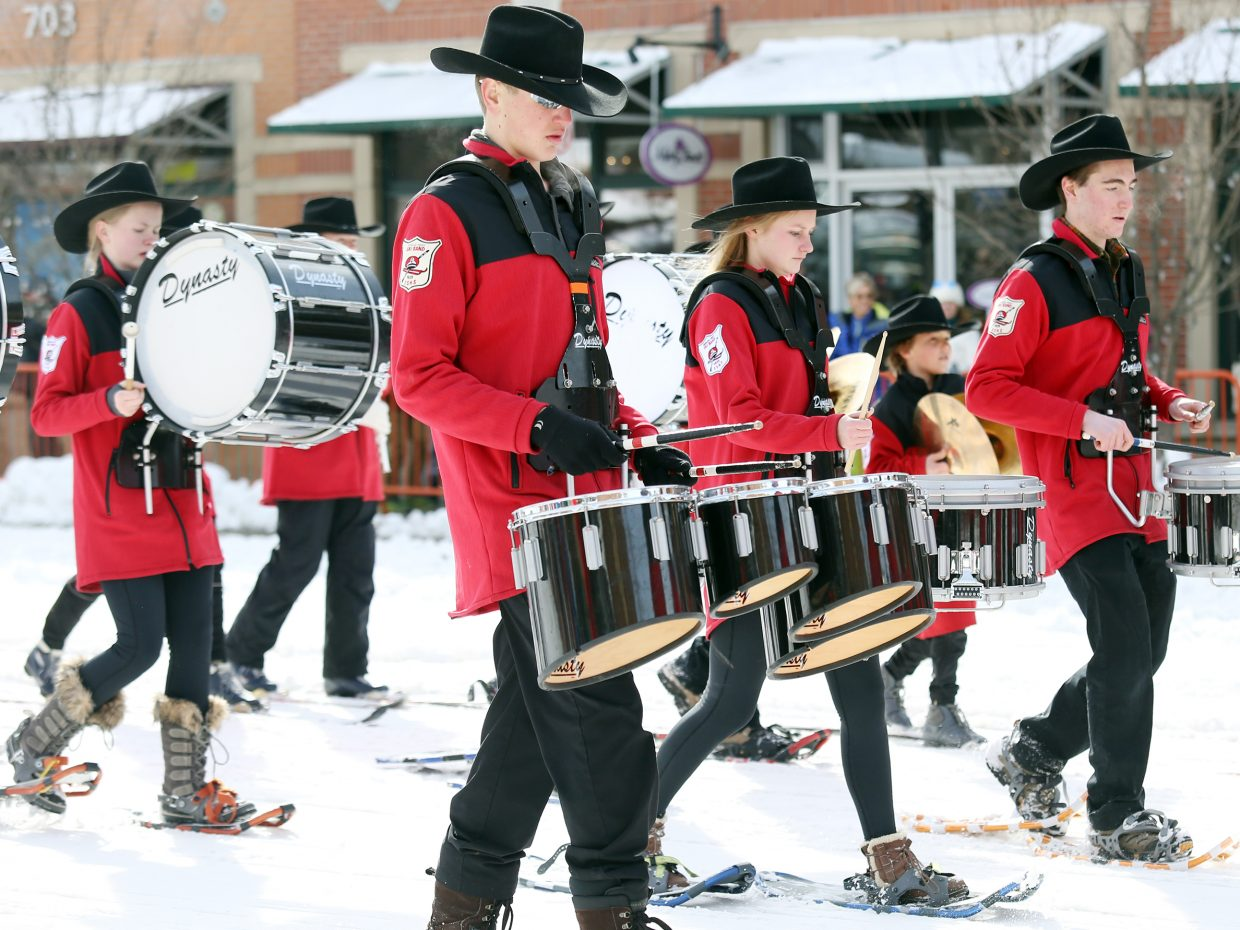 The Steamboat Springs High School ski band performs during Sunday's Diamond Hitch Parade.