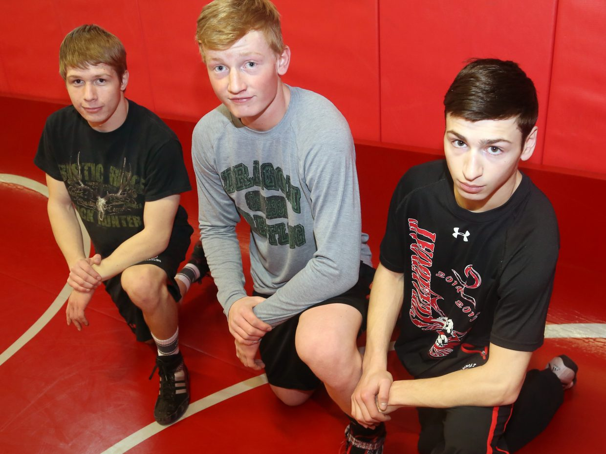 From left, Steamboat Springs High School wrestlers Dakota Thvedt, Hayden Johnson and Colton Pasternak will represent the Sailors at the state wrestling tournament this week at the Pepsi Center in Denver.