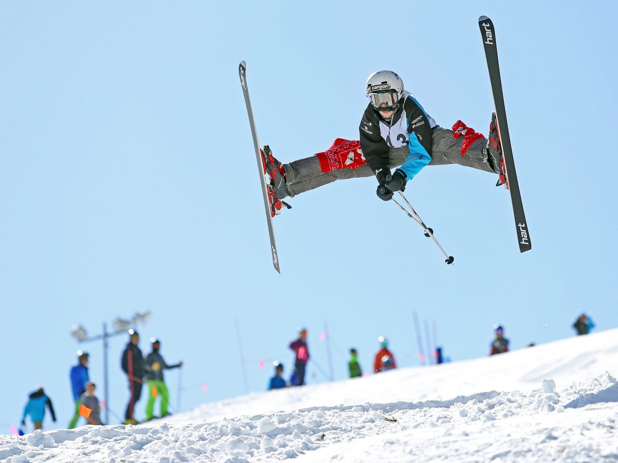 Steamboat Springs Winter Sports Club athlete Anthony Mathey competes in Saturday's Rocky Qualifier Series U15 open moguls ski competition at Steamboat Ski Area.