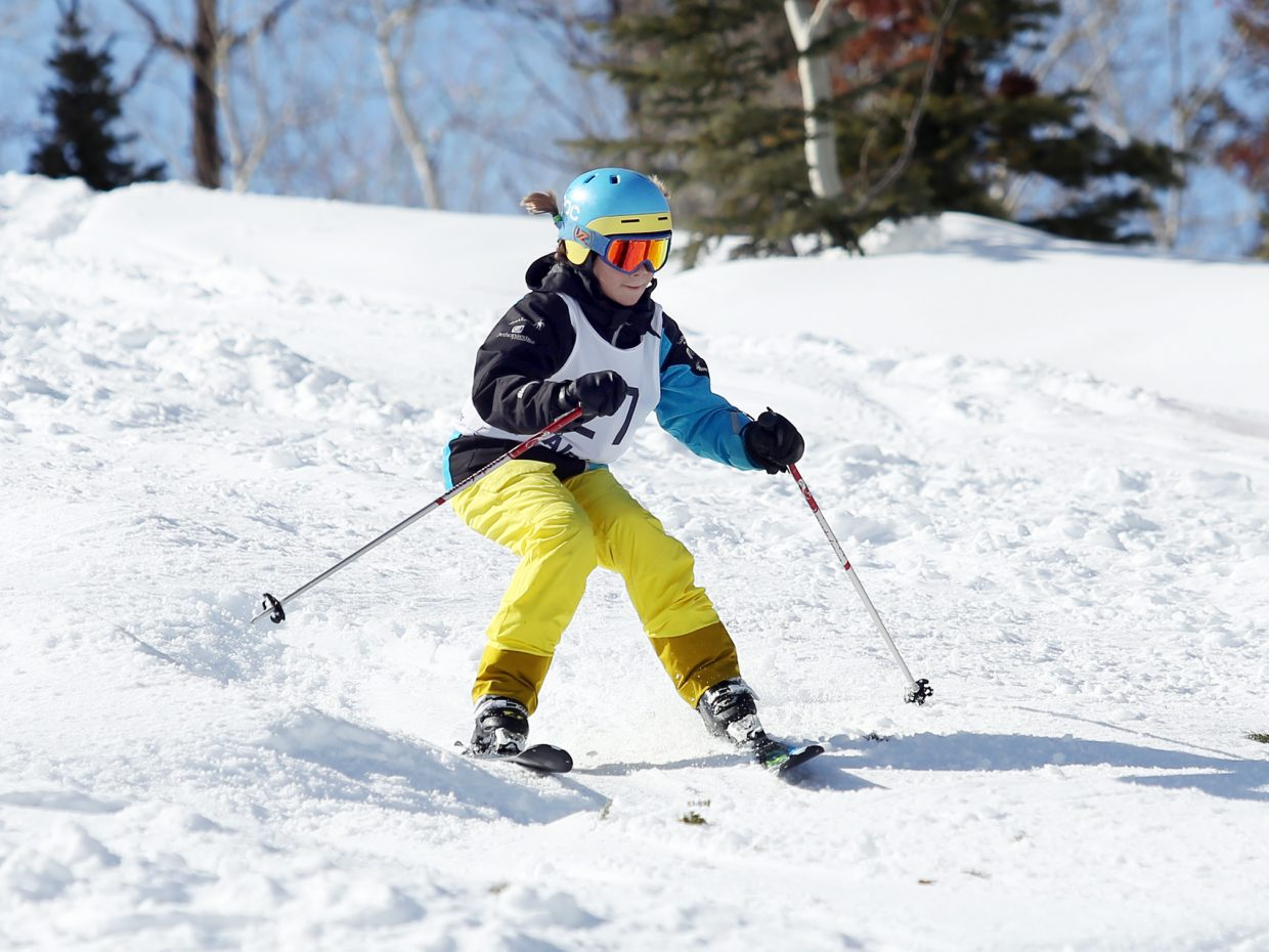 Steamboat Springs Winter Sports Club athlete Ava Rose competes in Saturday's Rocky Qualifier Series U15 open moguls ski competition at Steamboat Ski Area.