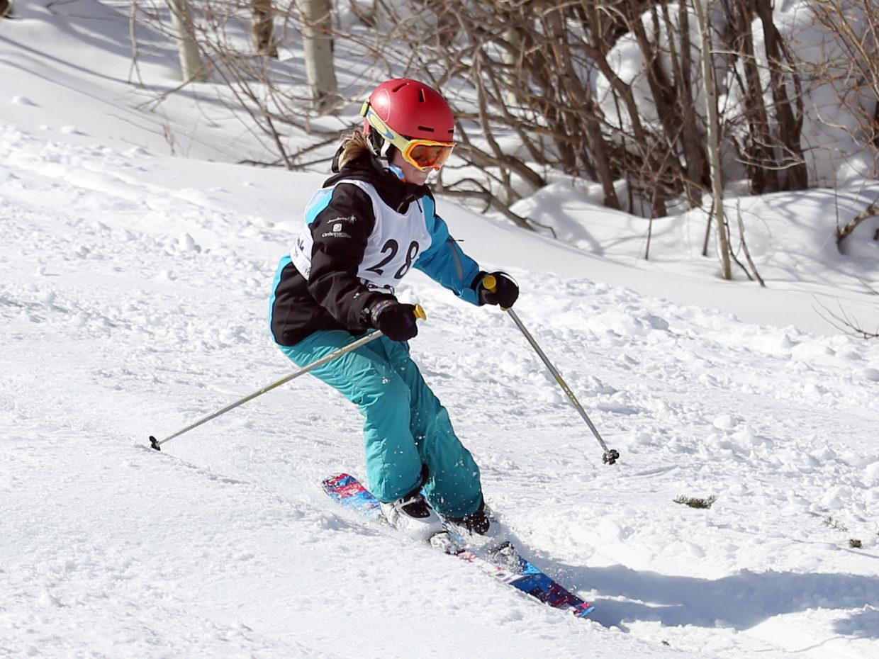 Steamboat Springs Winter Sports Club athlete Ella Walker competes in Saturday's Rocky Qualifier Series U15 open moguls ski competition at Steamboat Ski Area.
