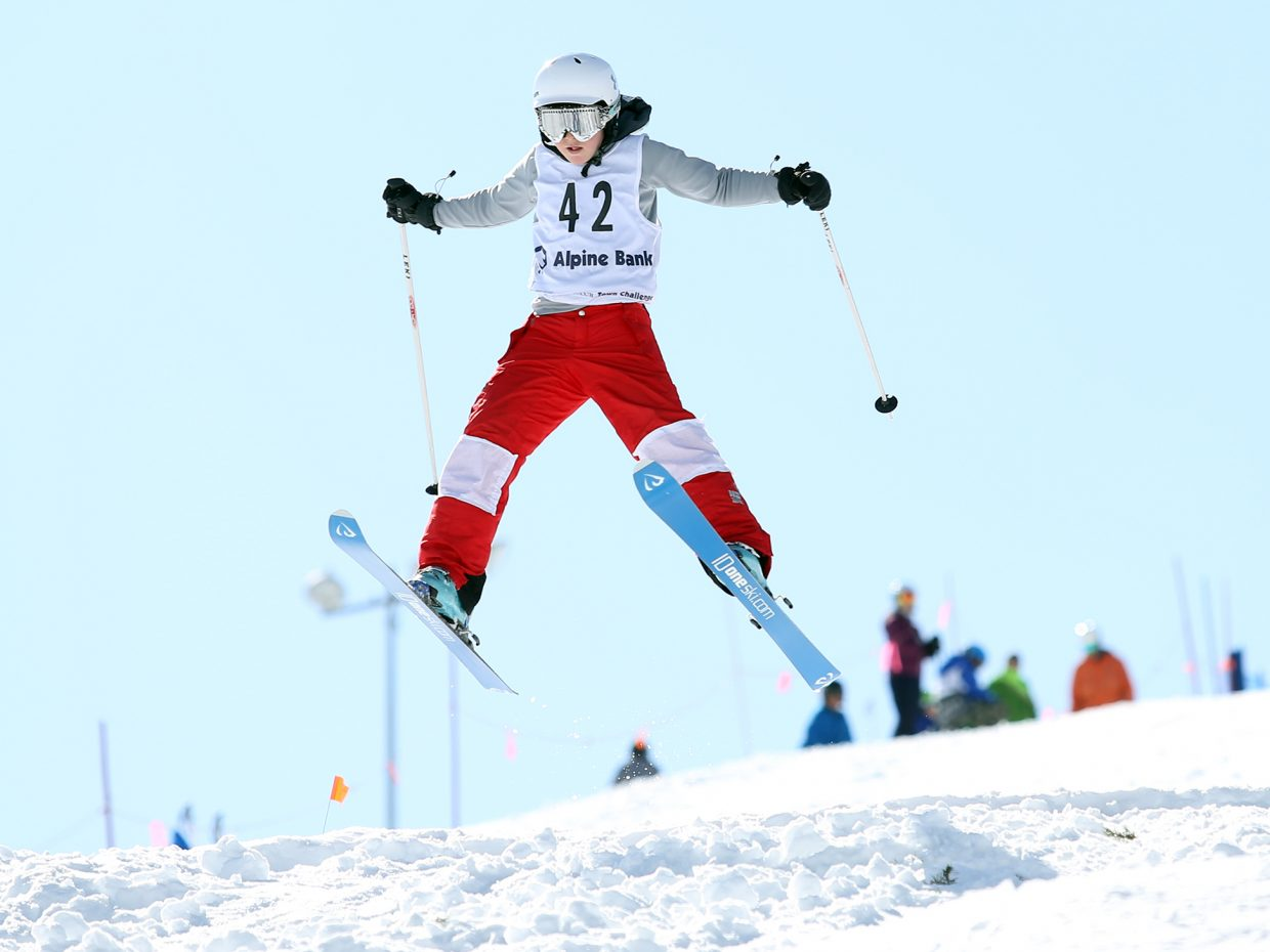 Winter Park's Clifford Goldy competes in Saturday's Rocky Qualifier Series U15 open moguls ski competition at Steamboat Ski Area.