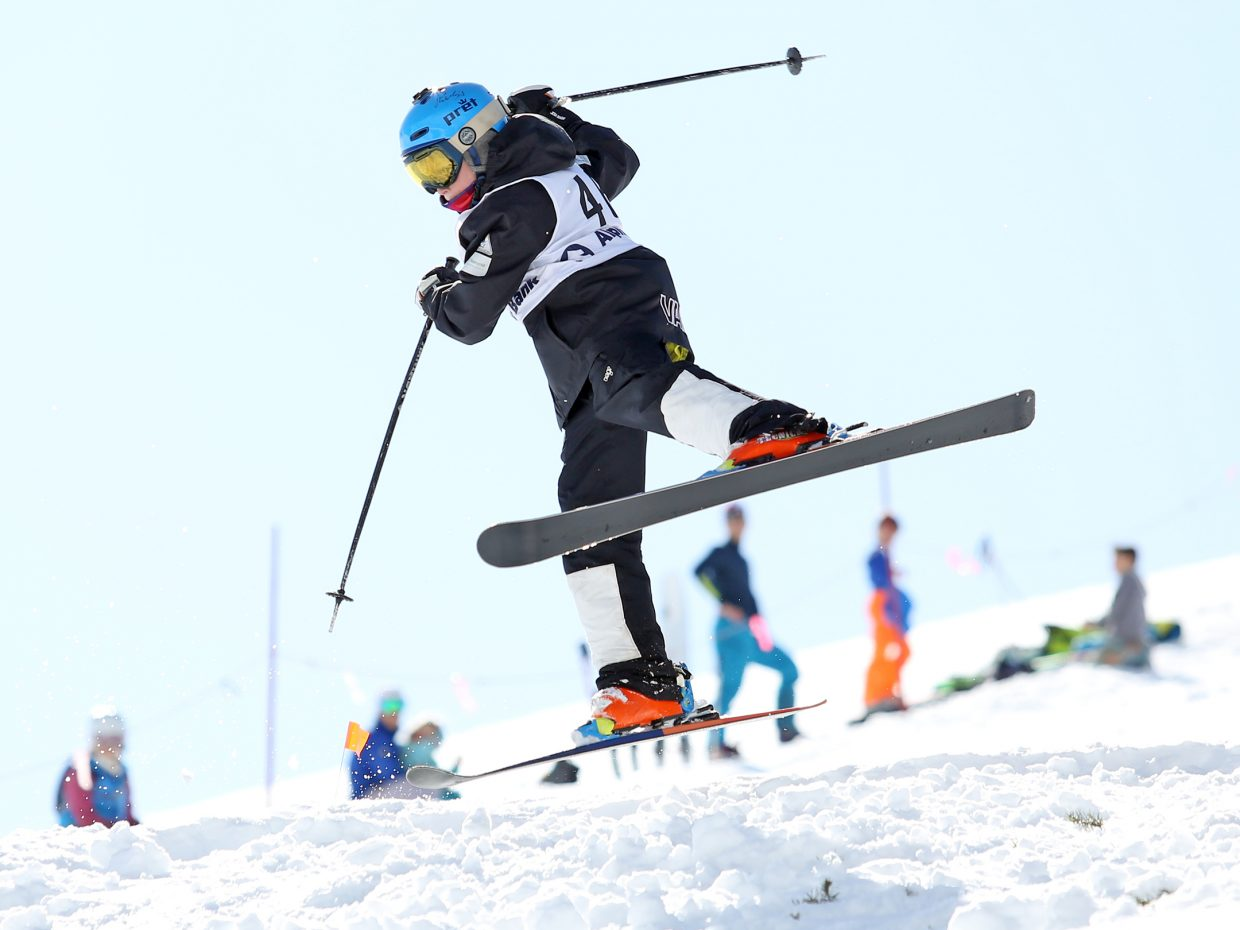 Vail's Landon Cunningham competes in Saturday's Rocky Qualifier Series U15 open moguls ski competition at Steamboat Ski Area.