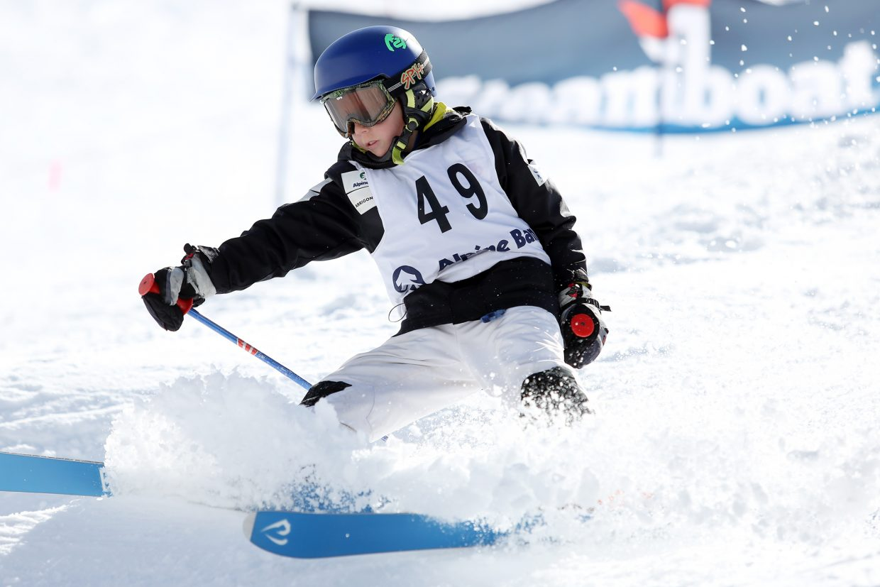 Vail's Jameson Kust competes in Saturday's Rocky Qualifier Series U15 open moguls ski competition at Steamboat Ski Area.