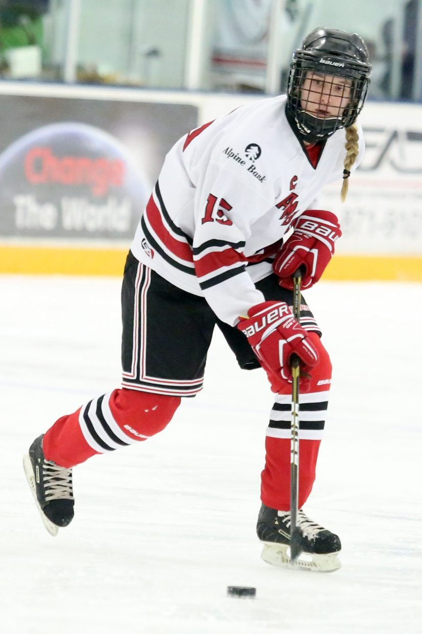 Steamboat's Abigail Vandergraaff controls the puck against Colorado Select on Sunday.