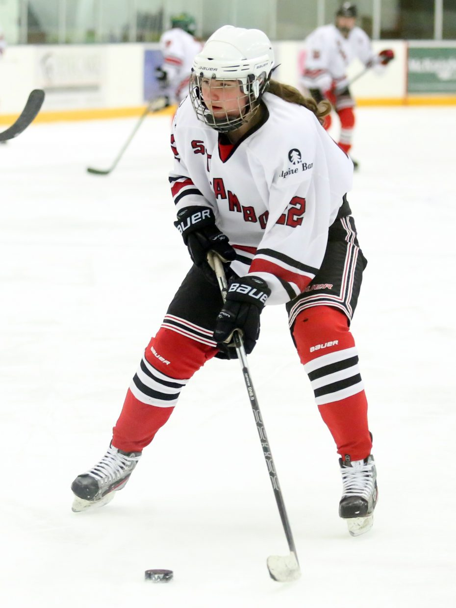 Steamboat's Maddie Thompson looks for a shot against Colorado Select on Sunday at Howelsen Ice Arena.