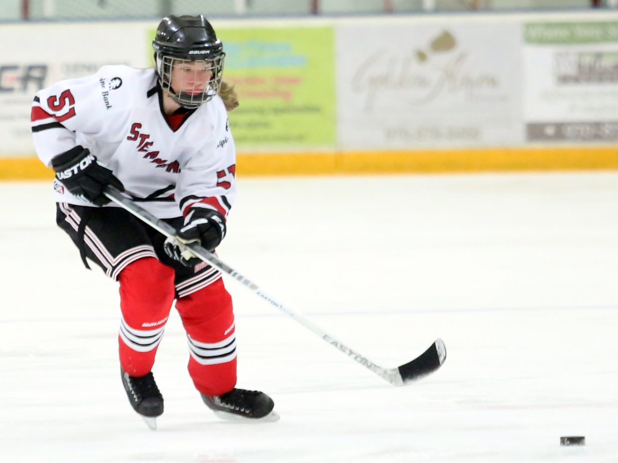 Steamboat's Winter Boese chases down a loose puck against Colorado Select on Sunday at Howelsen Ice Arena.